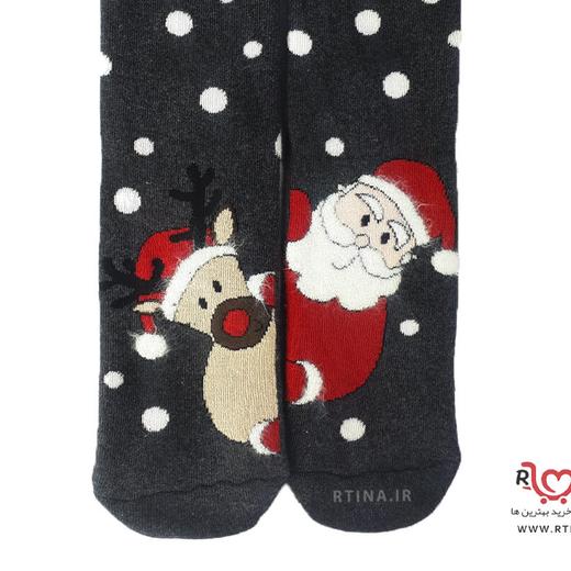 جوراب زنانه حوله ای طرح کریسمسی 2 EKMEN