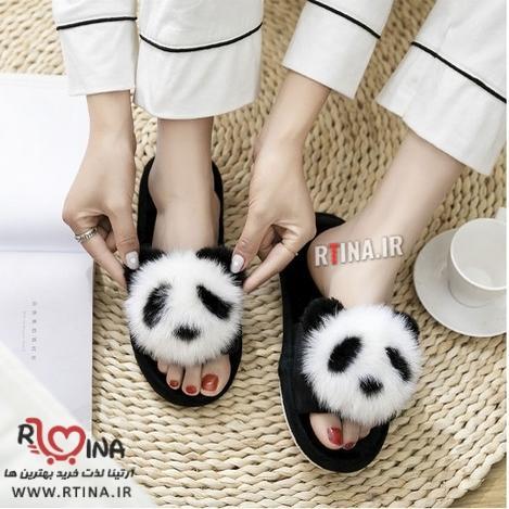 دمپایی روفرشی زنانه خزدار عروسکی مدل panda