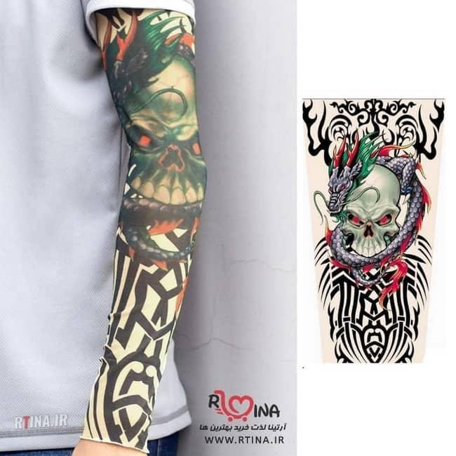 ساق دست تاتو خالکوبی مدل اژدها و اسکلت