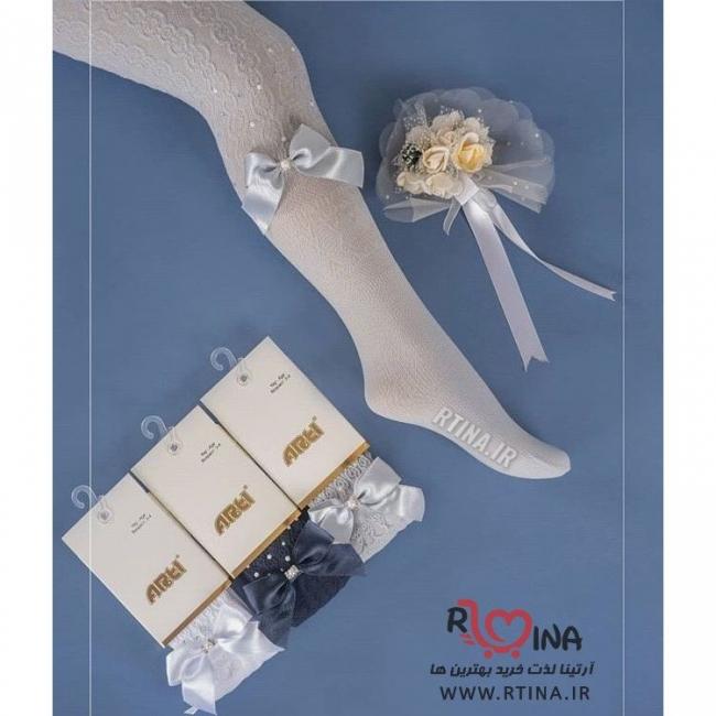 جوراب شلواری طرح دار بچه گانه نگین دار مدل رستا