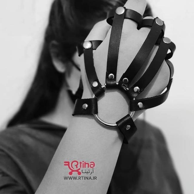 دستبند-مچ بند چرم حلقه ای انگشتی