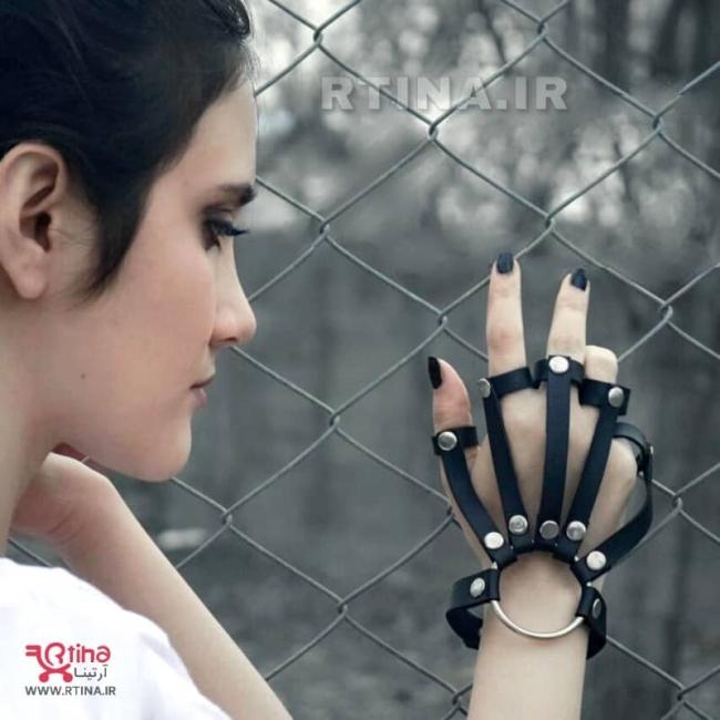 دستبند- ست مچ بند چرم حلقه ای انگشتی