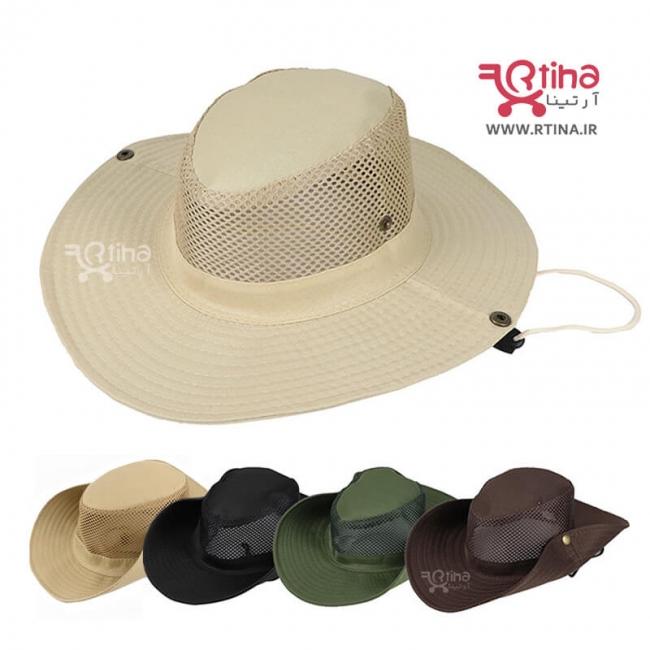 کلاه زنانه و مردانه آفتابی لبه دار تاشو با شبکه تنفسی مدل RT5
