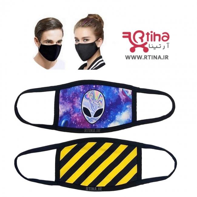 ماسک پارچه ای لاکچری طرح راه راها زرد-مشکی