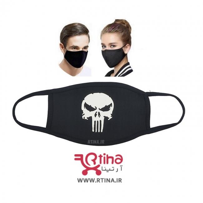 ماسک پارچه ای تنفسی مشکی طرح Skull