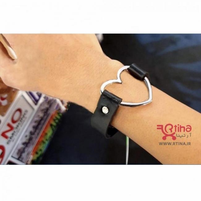 دستبند دخترانه چرم مدل heart