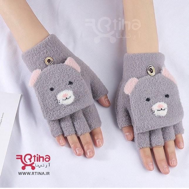 دستکش بدون انگشت بافتنی دخترانه و زنانه مدل کلاه دار u22