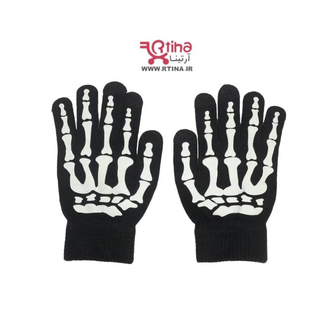 دستکش بافتنی مردانه و زنانه طرح اسکلت
