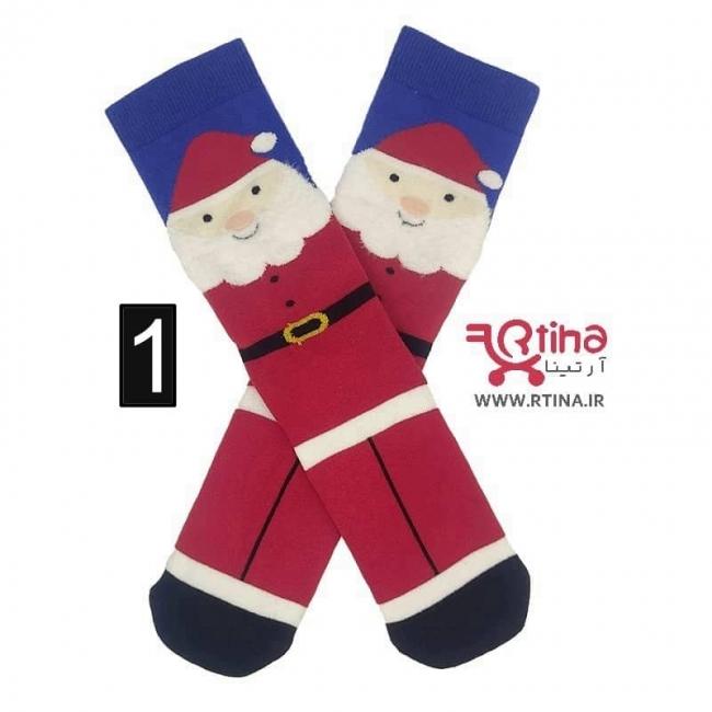 جوراب ساقدار زنانه طرح بابانوئل مدل EKMEN3