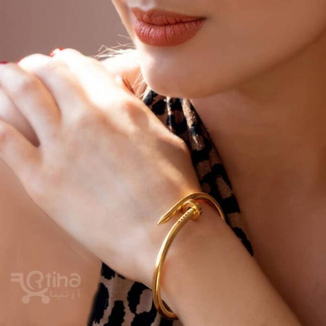 دستبند النگویی استیل زنانه طرح میخ