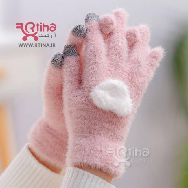 دستکش پشمی دخترانه و زنانه لمسی مدل قلب برجسته