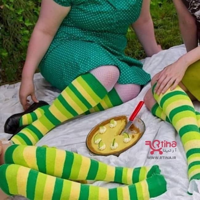 جوراب زنانه ساق بلند (بالازانو) سبز لیمویی مدل RT-SP1
