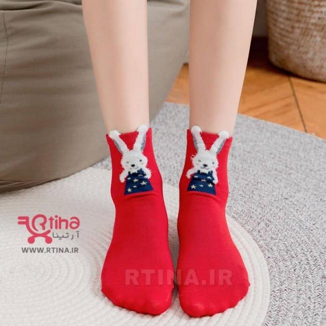 جوراب نخی جدید قرمز animal-fancy (زنانه و دخترانه)
