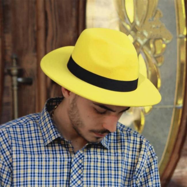 کلاه شاپو مردانه-زنانه لبه صاف رنگ زرد مدل RT-710