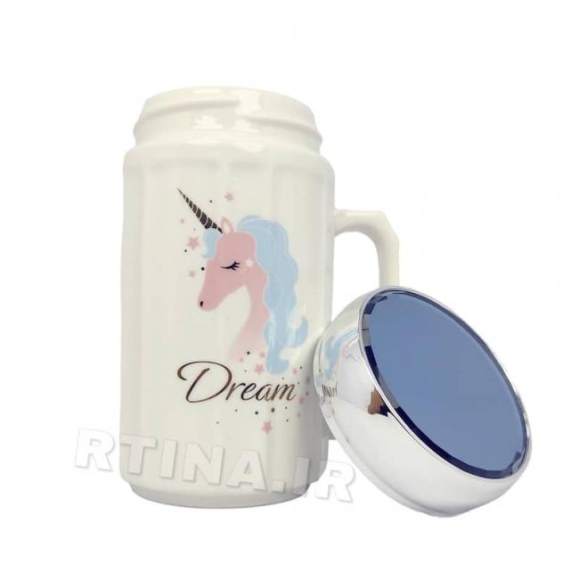 ماگ دخترانه طرح اسب تک شاخ مدل DREAM