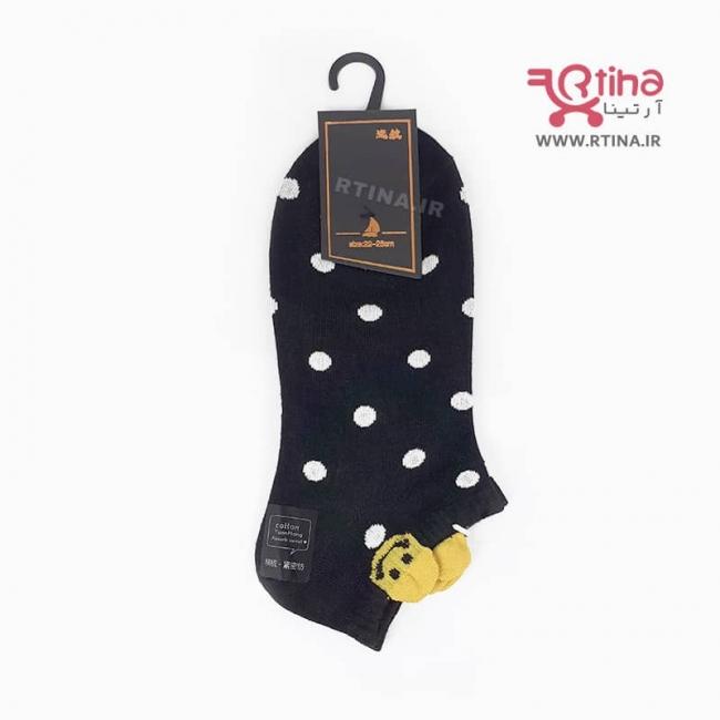 جوراب کوتاه طرح دار رنگِ مشکی مدل خالدار EMOJI-01