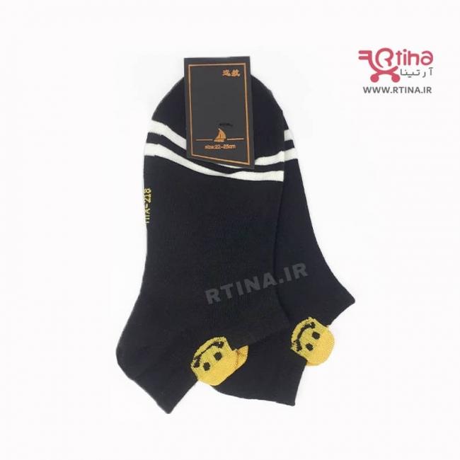 جوراب زنانه مشکی مچی مدل EMOJI-05