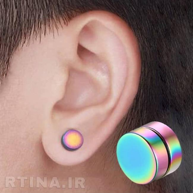 گوشواره ساده مردانه آهنربایی هفت رنگ مدل GF8