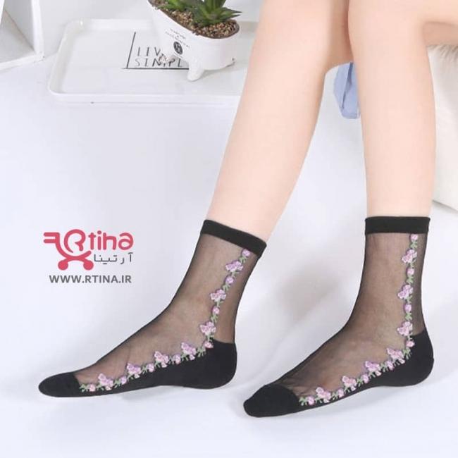 جوراب شیشه ای زنانه طرح شکوفه مدل E1