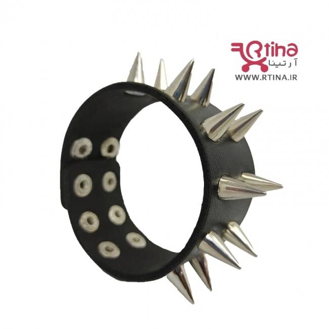 دستبند چرم پسرانه فلزی دو ردیفه مدل MZG-01