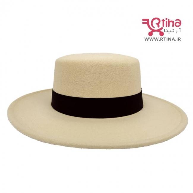 کلاه شاپو لبه صاف رنگ کرمی (4فصل)