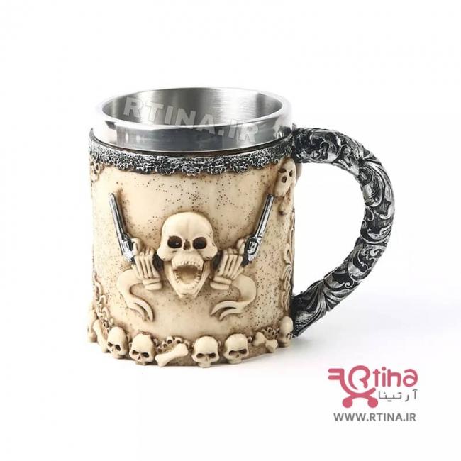 ماگ استیل قهوه و نوشیدنی مدل اسکلتی -جمجمه
