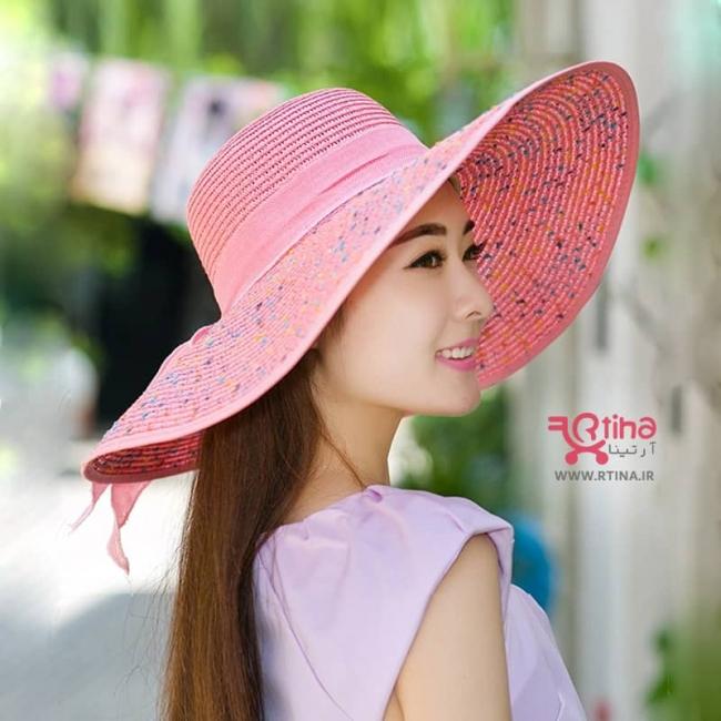 کلاه ساحلی دخترانه و زنانه لبه بلند و پاپیون دار