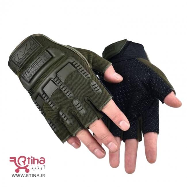 دستکش نیمه ورزشی رنگ سبز ارتشی (نظامی)