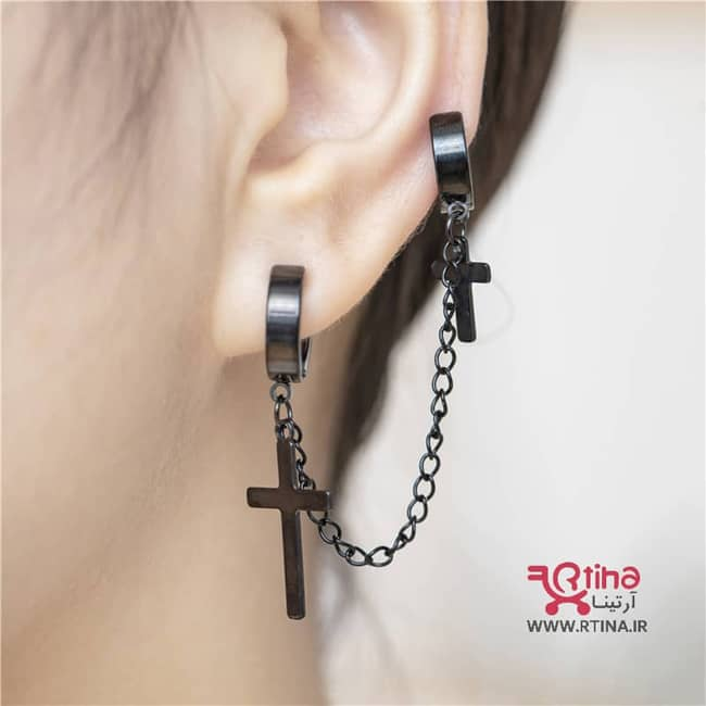 پیرسینگ گوش طرح صلیب (گوشواره تک گوش دو تکه)