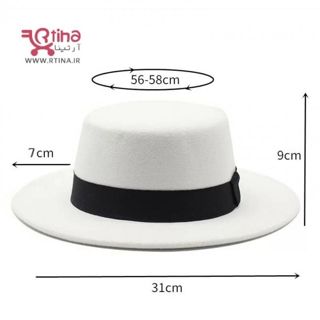 کلاه فدورا رنگ سفید صدفی مدل نوار دار