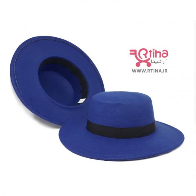 کلاه دور لبه دار مدل سرتخت رنگ آبی کاربنی