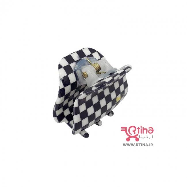 کلیپس مشکی-سفید مدل شطرنجی (گیره مو بچه گانه و دخترانه)