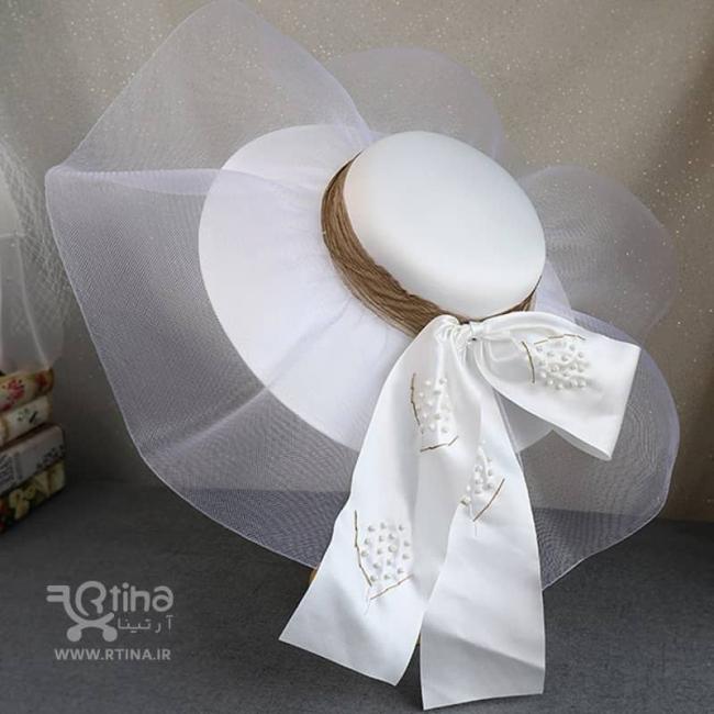 کلاه عروس فرانسوی بزرگ مدل توری (کلاه ساحلی عروس)