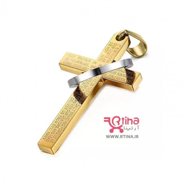 گردنبند صلیب زنانه /مردانه مهره ای +زنجیر ساده