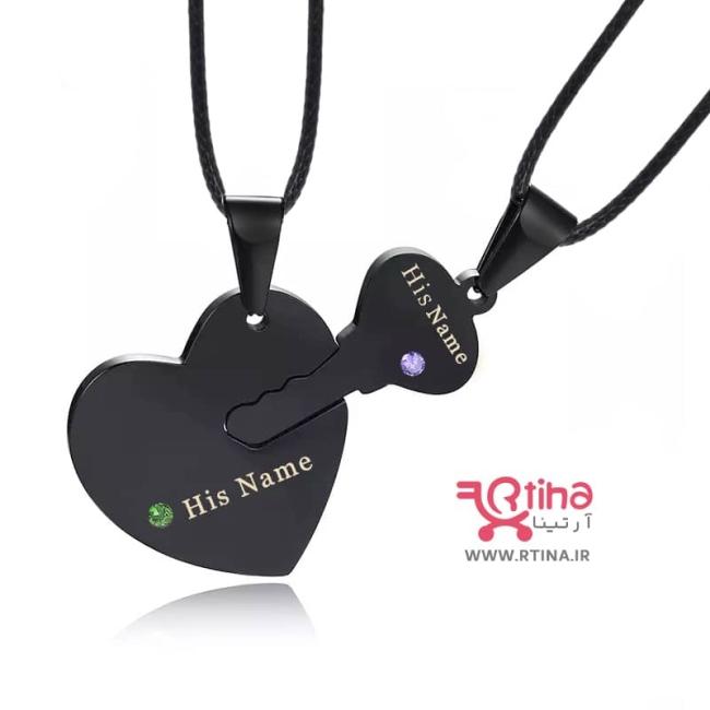 گردنبند دو تکه ای ست مدل کلید و قلب + 2 عدد زنجیر