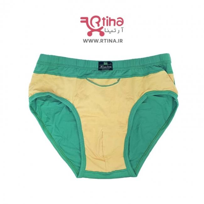 شورت اسلیپ مردانه برند houtan سبز/ زرد (جیب دار)