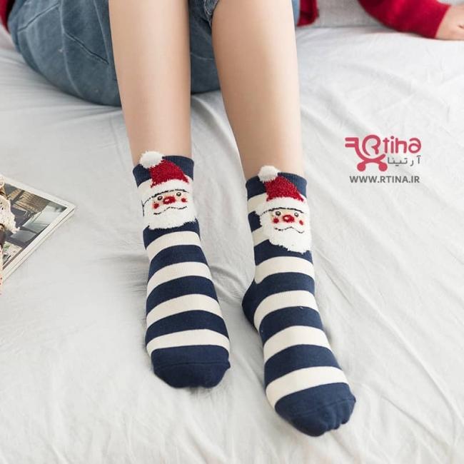 جوراب عروسکی راه راه زنانه مدل بابانوئل