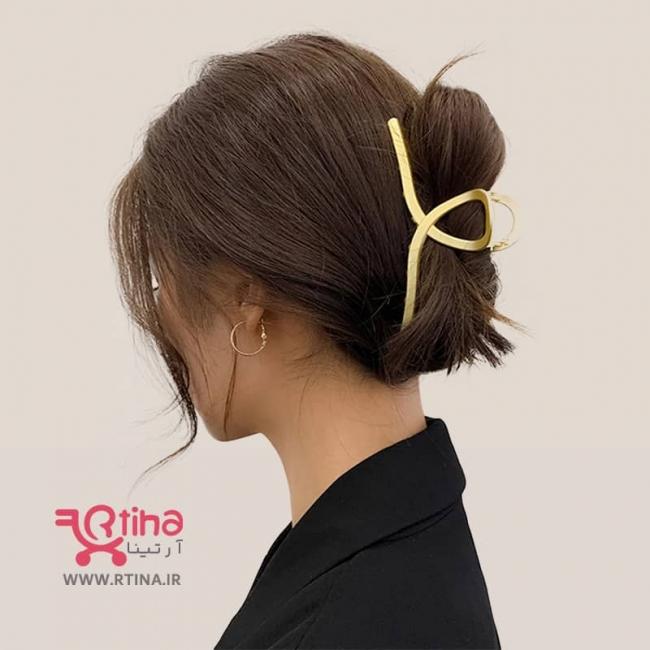 کلیپس فلزی بزرگ روی مو/ زنانه (آبکاری طلایی)