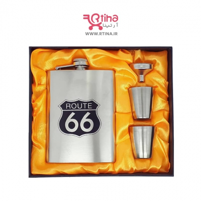 ست کادویی فلاسک و شات استیل مدل ROUTE66