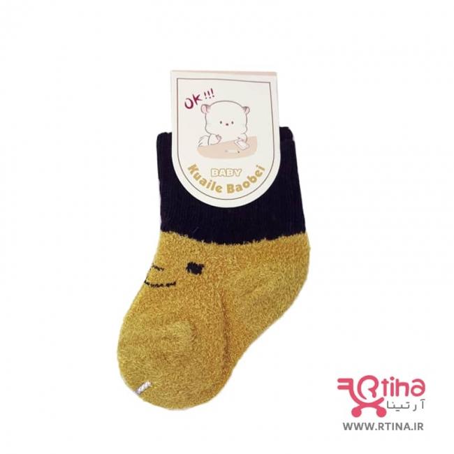 جوراب زمستانه کودک دختر و پسر رنگ زرد خردلی