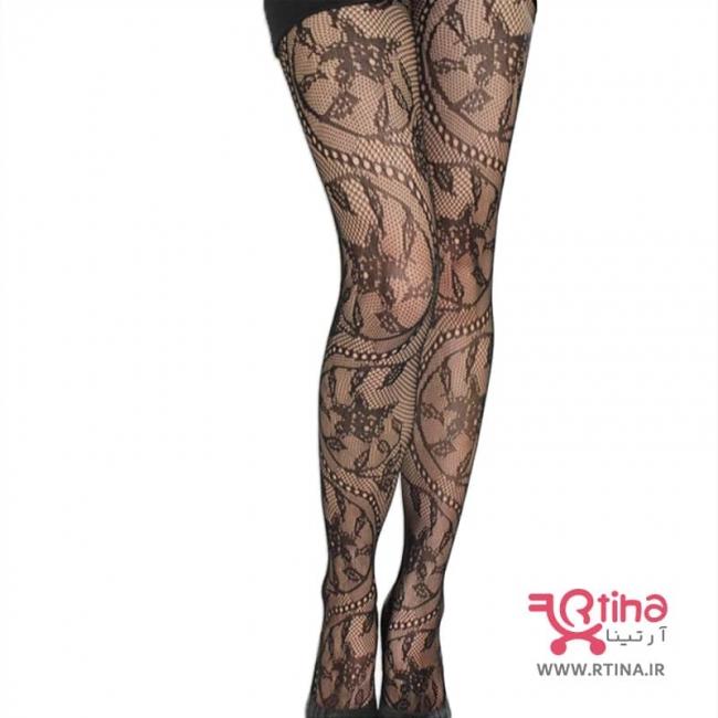 جوراب شلواری فانتزی نازک زنانه مدل تمام گیپوری