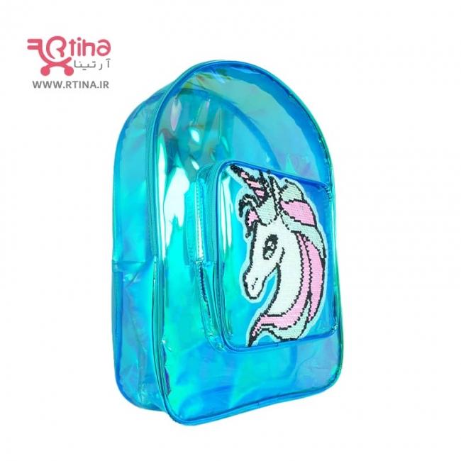 کیف کوله پشتی اسب تک شاخ مدل شفاف هولوگرامی