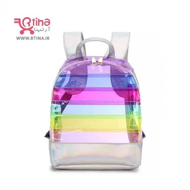 کیف کوله پشتی طلقی و شفاف طرح رنگین کمانی