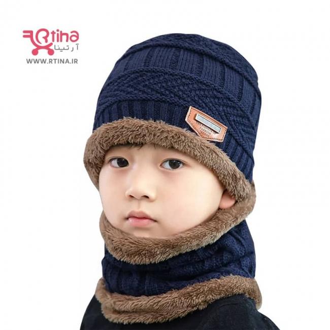 شال و کلاه  بچه گانه, دختر و پسر, رنگ سورمه ای مدل Song Ting