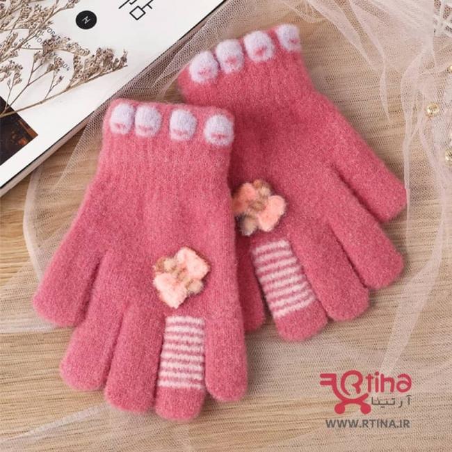 دستکش زمستانی بچه گانه/ دخترانه موهر طرح پروانه برجسته