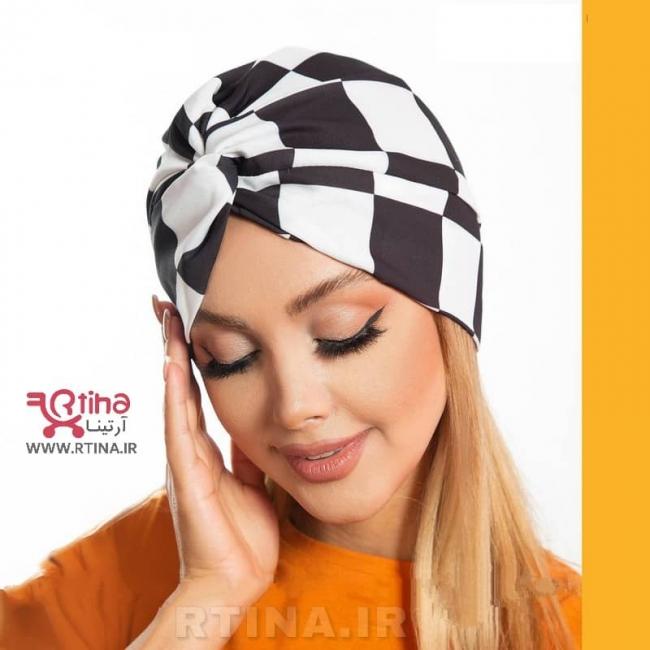 کلاه هدبندی زنانه (توربان) مدل جدید شطرنجی