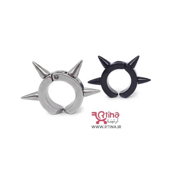 گوشواره اسپایک دار حلقه ای پسرانه و دخترانه/ کلیپسی