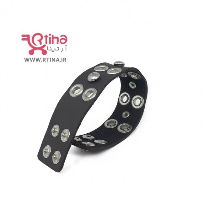 دستبند بند چرمی اسپرت پسرانه/ دخترانه مدل پانچی
