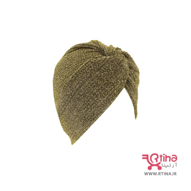 کلاه حجابی مجلسی مدل لمه طلایی (گره ای پلیسه دار)