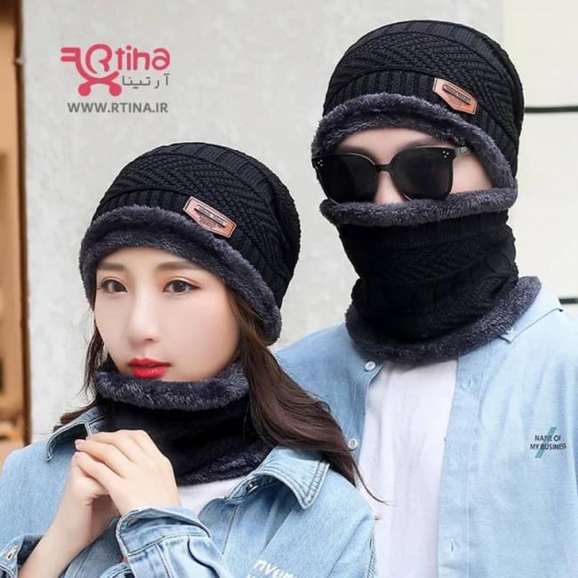 شال و کلاه زمستانی مردانه و زنانه مشکی